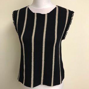 ZARA KNIT Black & Tan Striped Sweater Tank Sz M